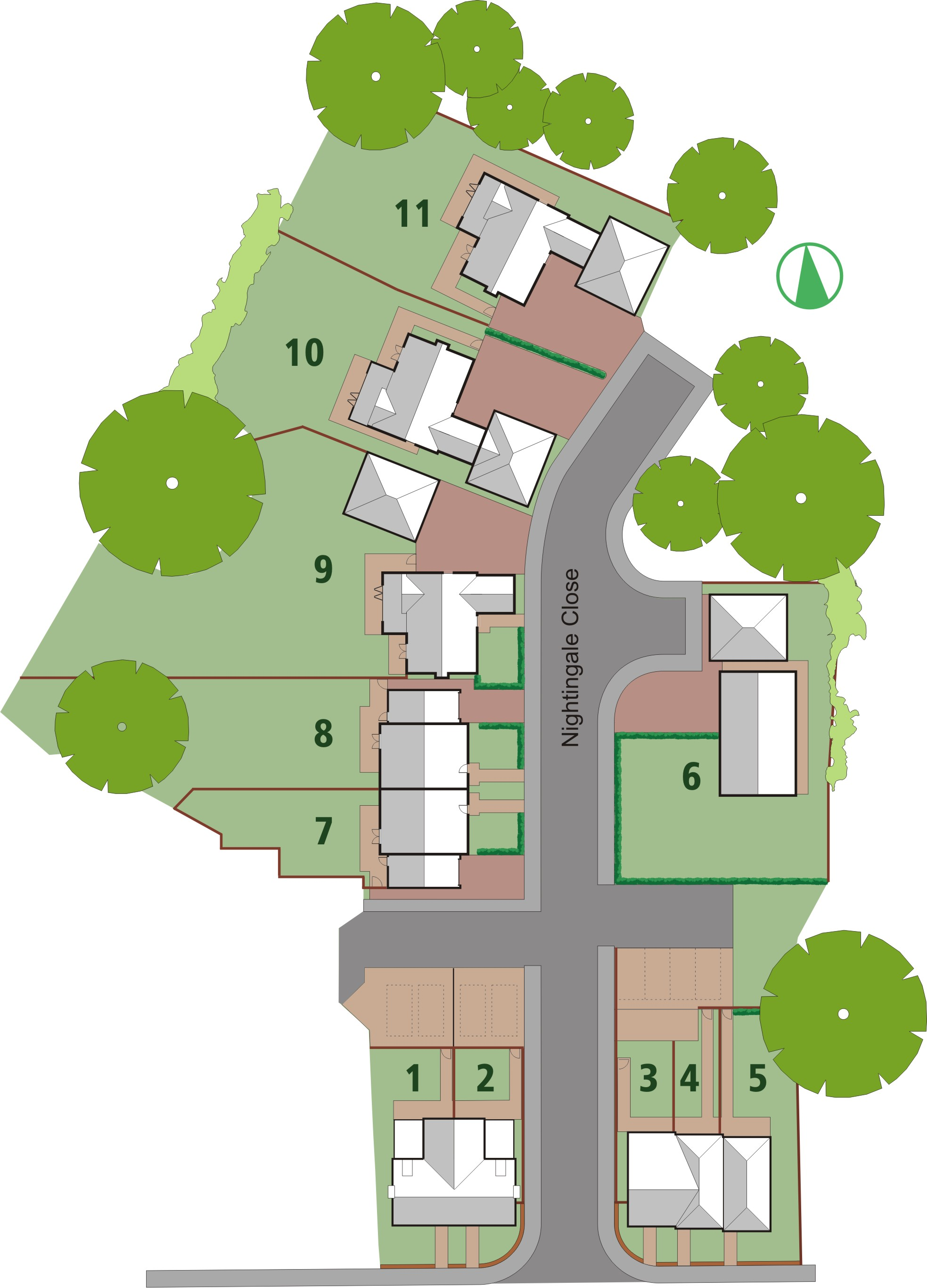 Layout of The Nightingales, Melton, Suffolk, IP12 1GY Development